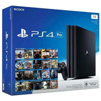 PlayStation 4 Pro 1Tb (прошитая) + 24 игры