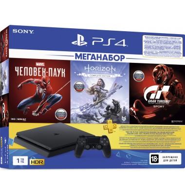 PlayStation 4 Slim 1Tb (CUH-2208B) + Человек-паук, Horizon Zero Dawn, Gran Turismo + подписка PS Plus 3 мес + фильмы Okko 60 дней