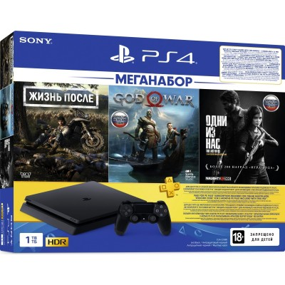 PlayStation 4 Slim 1Tb (CUH-2208B) + Days gone, God of war, Одни из нас + подписка PS Plus 3 мес + фильмы Okko 60 дней