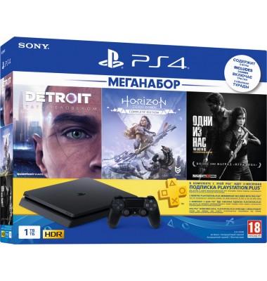 PlayStation 4 Slim 1Tb (CUH-2208B) + Detroit: Become Human, Horizon: Zero Dawn, The Last of Us + подписка PS Plus 3 мес + фильмы Okko 60 дней