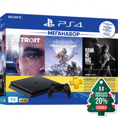 PlayStation 4 Slim 1Tb (CUH-2208B) + Detroit: Become Human, Horizon: Zero Dawn, The Last of Us + подписка PS Plus 3 мес + фильмы Okko 60 дней