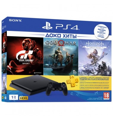 PlayStation 4 Slim 1Tb (CUH-2208B) + God of War, Horizon: Zero Dawn, Gran Turismo Sport + подписка PS Plus 3 мес + фильмы Okko 60 дней