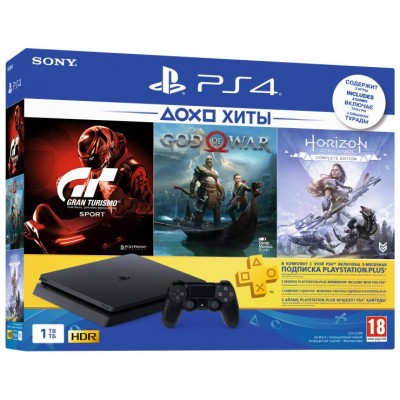 PlayStation 4 Slim 1Tb + God of War, Horizon: Zero Dawn, Gran Turismo Sport + подписка PS Plus 3 мес + фильмы Okko 60 дней