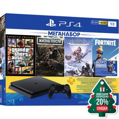 PlayStation 4 Slim 1Tb (CUH-2208B) + GTA 5, Жизнь После, Horizon: Zero Dawn, Fortnite + подписка PS Plus 3 мес + фильмы Okko 60 дней