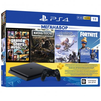 PlayStation 4 Slim 1Tb (CUH-2208B) + GTA 5, Жизнь После, Horizon: Zero Dawn, Fortnite + подписка PS Plus 3 мес + фильмы Okko 60 дней