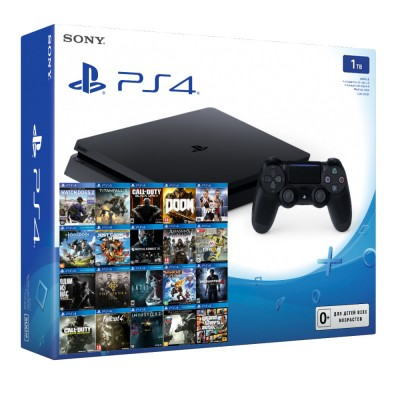 PlayStation 4 Slim 1Tb (прошитая) + 24 игры
