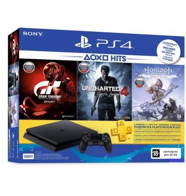 PlayStation 4 Slim 500Gb (CUH-2208A) + Uncharted 4, Horizon: Zero Dawn, Gran Turismo Sport + подписка PS Plus 3 мес + фильмы Okko 60 дней
