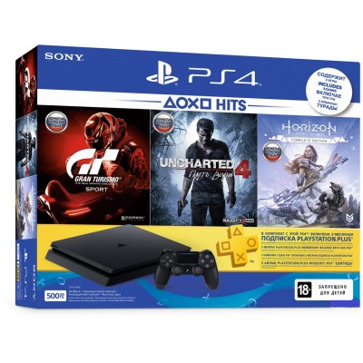 PlayStation 4 Slim 500Gb + Uncharted 4, Horizon: Zero Dawn, Gran Turismo Sport + подписка PS Plus 3 мес + фильмы Okko 60 дней